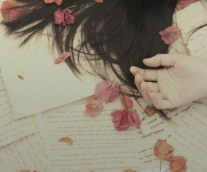 flowers, hair, and letters image