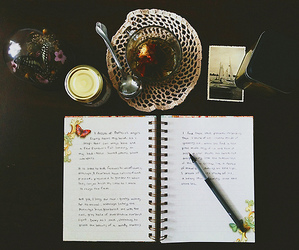 diary, notebook, and tea image