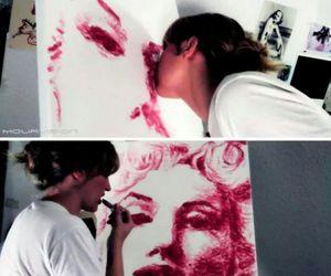 art, kiss, and lipstick image
