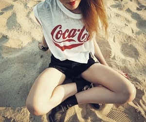 girl, beach, and coca cola image