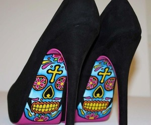 black, shoes, and skull image