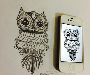 drawing, heart, and owl image