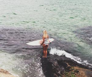 beach, paradise, and surf image