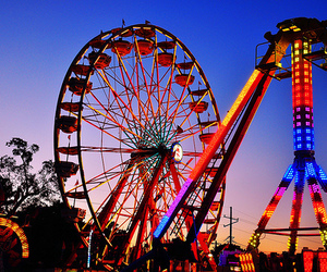 light, photography, and ferris wheel image