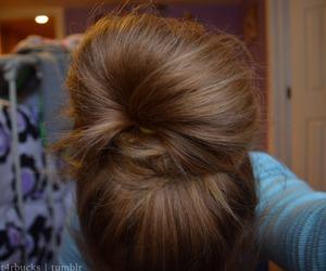 brunette, bun, and chignon image