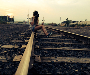 hipster, railroad, and sun image