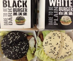 burger, food, and black image