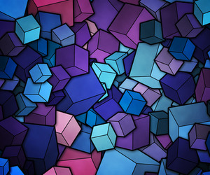 wallpaper, blue, and cube image