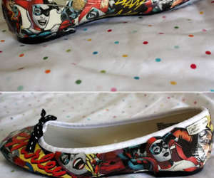 harley quinn, shoes, and super villain image
