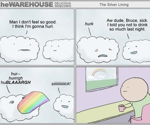 rainbow, clouds, and funny image