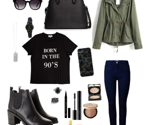 black, green, and outfit image