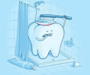 funny, tooth, and shower image