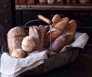 bread, basket, and rustic image