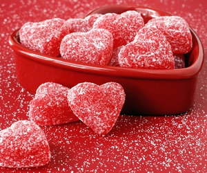 red, heart, and candy image