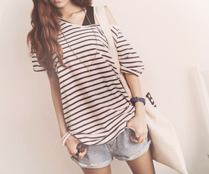 fashion, girl, and stripes image