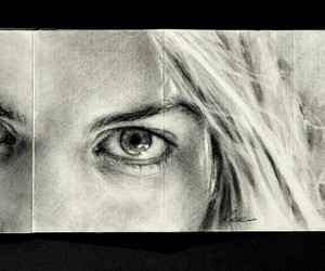 drawing, face, and moleskine image