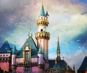 blue, disneyland, and sleeping beauty castle image
