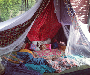 bed, tenda, and cozy image