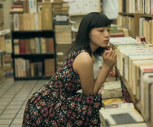 asian girl, books, and bookstore image