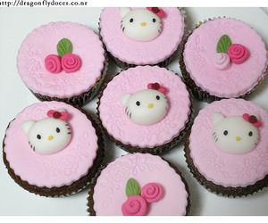 hello kitty, cupcake, and pink image