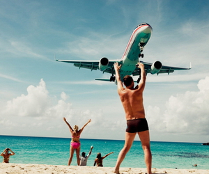 beach, summer, and airplane image