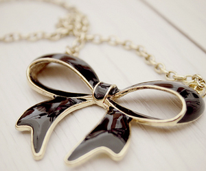 bow, necklace, and black image