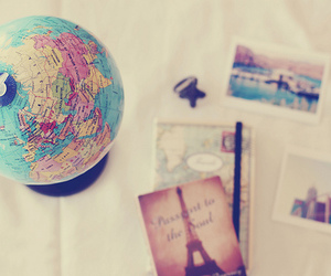 paris, globe, and travel image