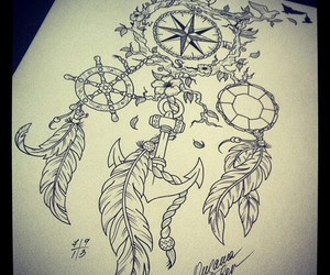 art, feather, and anchor image