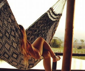 blonde, summer, and hammock image