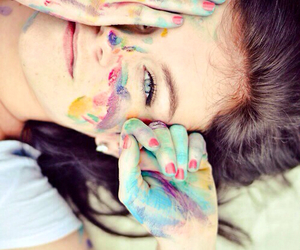 girl, colors, and paint image
