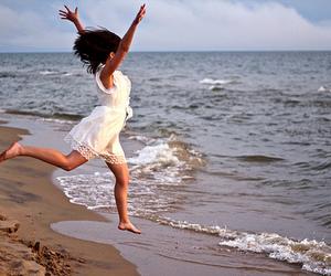 beach, girl, and beautiful image