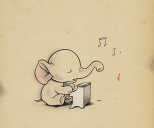 elephant, music, and cute image