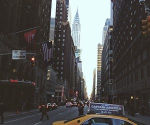 city, cars, and new york image
