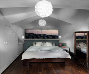 bedroom, white chandelier, and white lighting image
