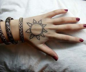 tattoo, sun, and hand image