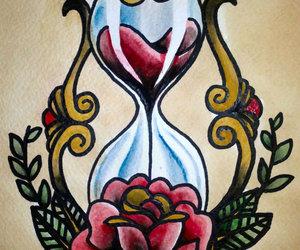 hourglass, rose, and tattoo image