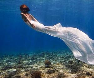 mermaid, dress, and ocean image