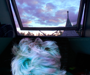 hair, sky, and blue image