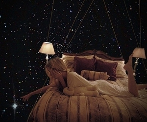 bed, floating, and fly away image