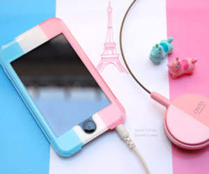 pink, paris, and blue image