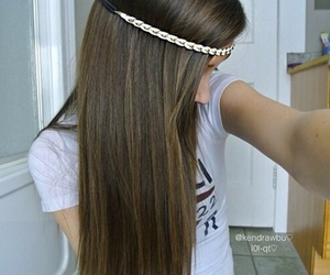 brunette, hair, and long image