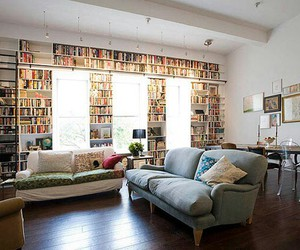 books, bookshelf, and couch image