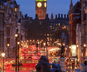 london, lights, and night image