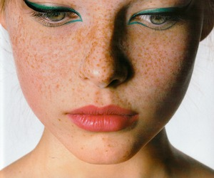 freckles, makeup, and eyeliner image