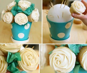 cupcakes, rose, and white image