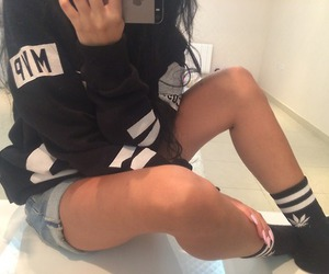 black&white, sweatshirt, and jean shorts image