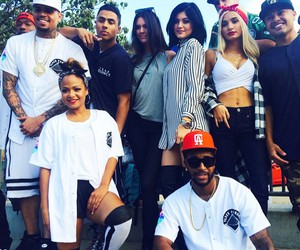 chris brown, kylie jenner, and kendall jenner image