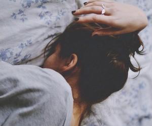 girl, sad, and sleep image