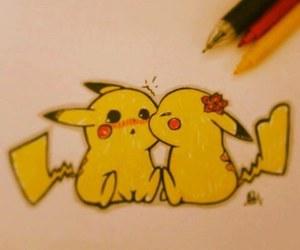 love, cute, and pikachu image