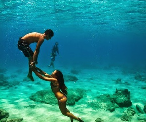 blue, pretty, and underwater image